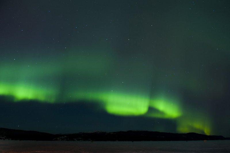 Northern lights over Wawa Lake - James Smedley Stock Photo