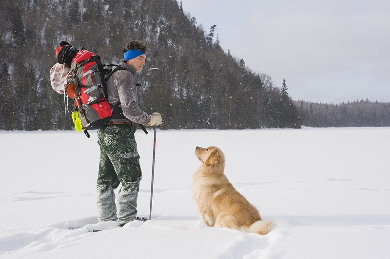 hiking outdoors winter with dog